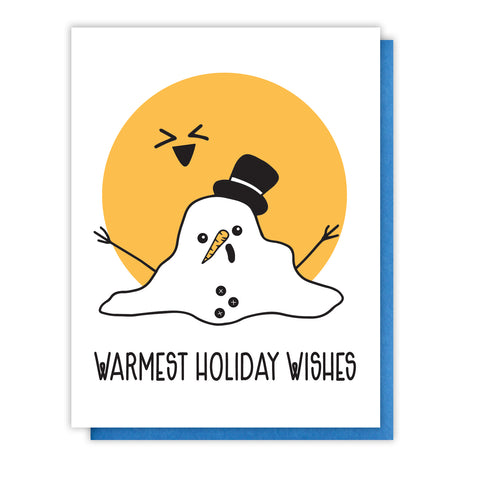 NEW! Funny Warmest Holiday Wishes Melting Snowman Letterpress Card
