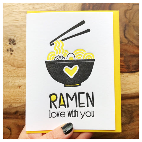 NEW! Funny Love Letterpress Card | Ramen Love With You | Foodie Pun | Valentine's | kiss and punch