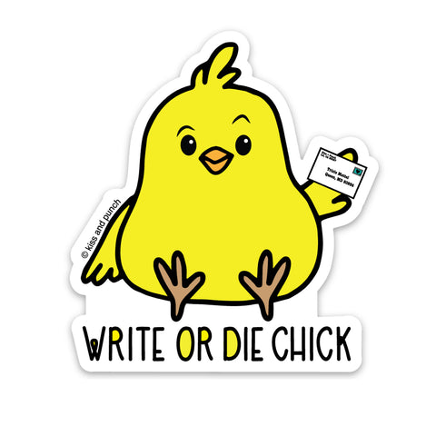 NEW! 3 Inch Write or Die Chick Vinyl Sticker - Laptop Sticker - Water Bottle Sticker - Phone Case Sticker