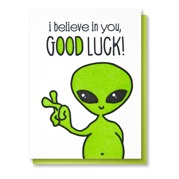 Funny Alien Good Luck Letterpress Card | kiss and punch - Kiss and Punch