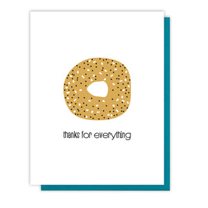 Funny Punny Everything Bagel Foodie Thanks Letterpress Card | kiss and punch