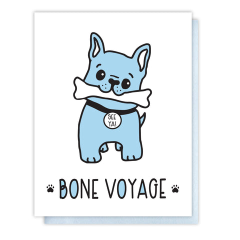 Funny Goodbye Letterpress Card | Frenchie Dog | Bone Voyage Pun | kiss and punch - Kiss and Punch