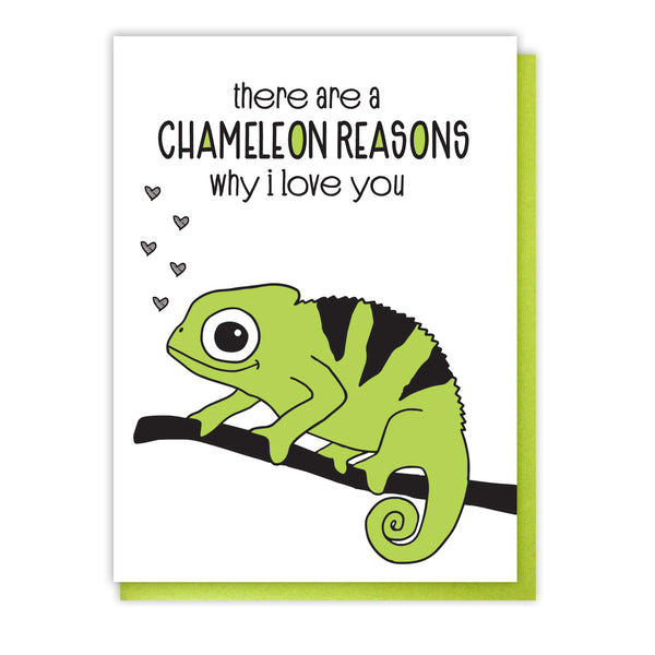 NEW! Funny Love Letterpress Card | Chameleon Reasons Why I Love You | Pun | kiss and punch - Kiss and Punch
