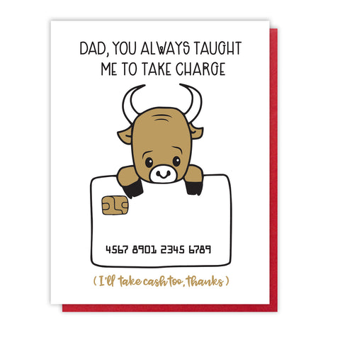 NEW! Funny Take Charge Dad Letterpress Card | Bull Credit Card | kiss and punch - Kiss and Punch