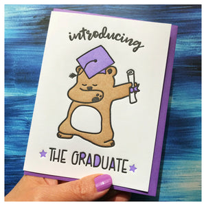 Funny Dab Graduation Letterpress Card | Introducing the Graduate | Bear | kiss and punch
