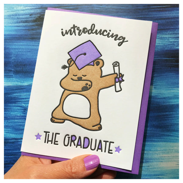 Funny Dab Graduation Letterpress Card | Introducing the Graduate | Bear | kiss and punch - Kiss and Punch