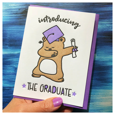 Funny Graduation Bear Dab Letterpress Card