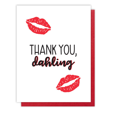 REDESIGN! Thank You Dahling Letterpress Card | Kissing Lips | kiss and punch - Kiss and Punch