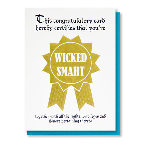 Funny Wicked Smaht Graduation New Job Gold Foil Card | kiss and punch - Kiss and Punch