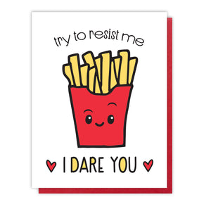 Funny Love Letterpress Card | Valentine | French Fries | kiss and punch