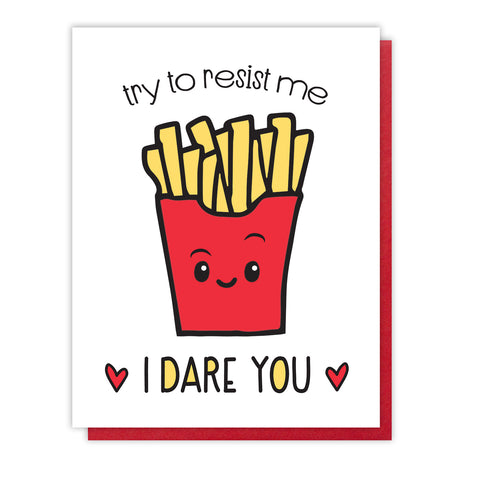 Funny Love Letterpress Card | Valentine | French Fries | kiss and punch - Kiss and Punch