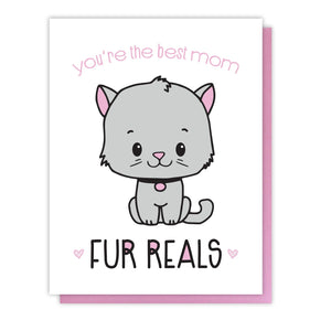 Funny Cat Mom Letterpress Card | You're the Best | Fur Reals Pun | kiss and punch