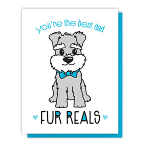NEW! Funny Dog Dad Letterpress Card | You're the Best | Fur Reals Pun | kiss and punch