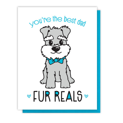 NEW! Funny Dog Dad Letterpress Card | You're the Best | Fur Reals Pun | kiss and punch - Kiss and Punch