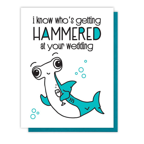 NEW! Hammerhead Shark Wedding Letterpress Card | Hammered Pun | kiss and punch - Kiss and Punch