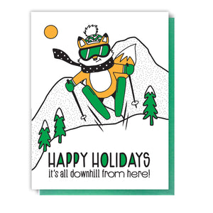 Funny Downhill Holidays | Skiing Fox Letterpress Card | kiss and punch