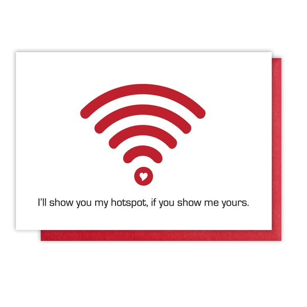 Funny Hotspot WiFi Geeky Love Letterpress Card | kiss and punch - Kiss and Punch