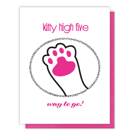 Funny Kitty High Five Congrats Letterpress Card | kiss and punch - Kiss and Punch