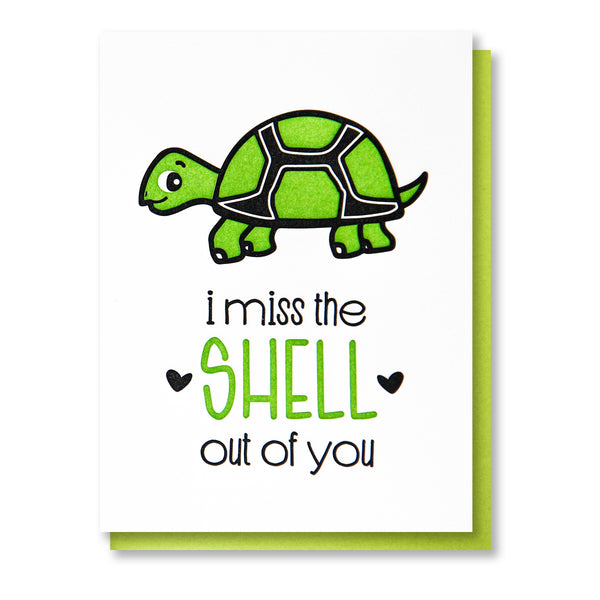 Funny Punny Miss You Letterpress Card | Miss the Shell Out of You | Turtle Pun | kiss and punch - Kiss and Punch