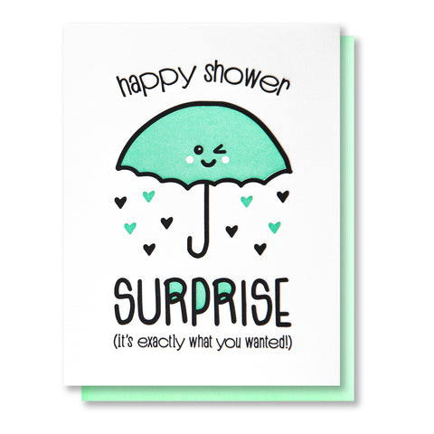 NEW! Funny Shower Letterpress Card | Bridal Shower | Baby Shower | kiss and punch - Kiss and Punch