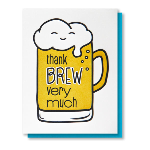 Funny Punny Thank You Letterpress Card | Thank Brew | Beer Pun | kiss and punch - Kiss and Punch