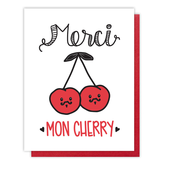 NEW! Funny Punny Thank You Letterpress Card | Merci Mon Cherry | French Pun | kiss and punch - Kiss and Punch