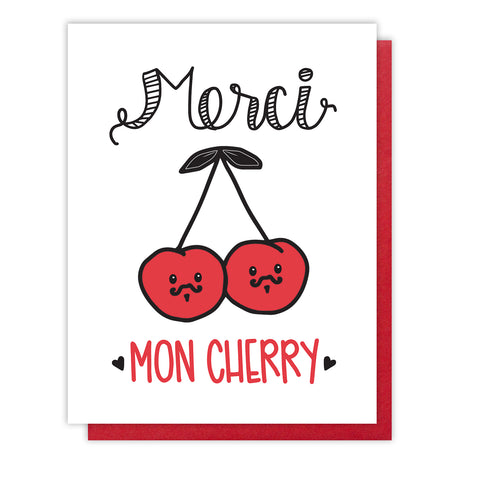 Funny Punny Thank You Letterpress Card | Merci Mon Cherry | French Pun | kiss and punch - Kiss and Punch