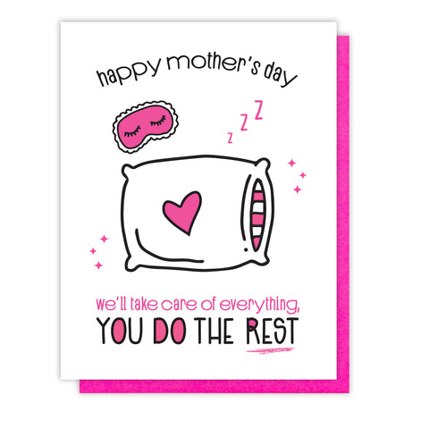 NEW! Funny Mother's Day Letterpress Card | Nap for Mom | kiss and punch - Kiss and Punch