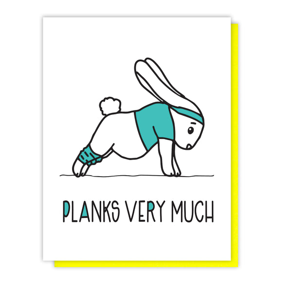 NEW! Planks Very Much | Bunny | Funny Thank You Letterpress Card | kiss and punch - Kiss and Punch