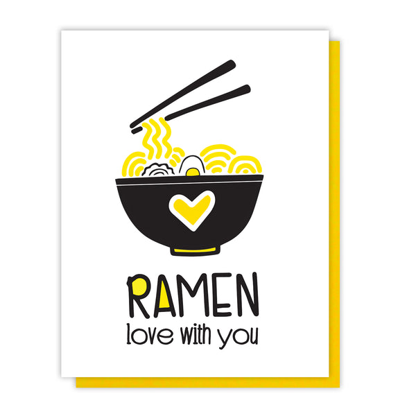 Funny Love Letterpress Card | Ramen Love With You | Foodie Pun | Valentine's | kiss and punch - Kiss and Punch