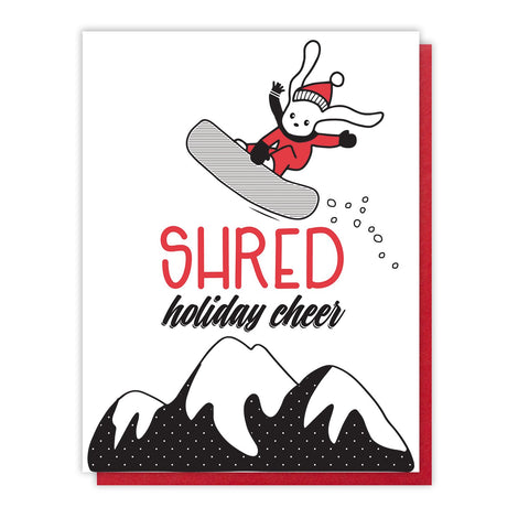 NEW! Funny Shred Holiday Cheer | Snowboard Bunny Letterpress Card | kiss and punch - Kiss and Punch