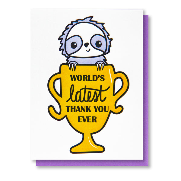 NEW! Funny Sloth Latest Thank You Ever Letterpress Card | kiss and punch - Kiss and Punch