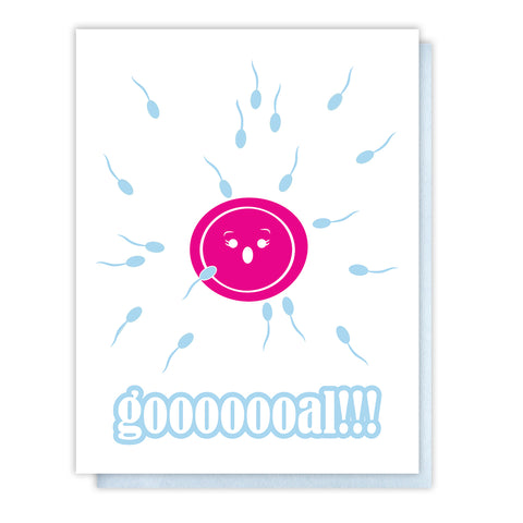 Funny Baby Expecting or Baby Shower Letterpress Card | Sperm Egg | Gooooal | kiss and punch - Kiss and Punch