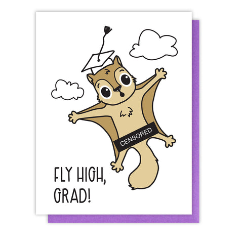 Funny Graduation Letterpress Card | Fly High | Flying Squirrel | kiss and punch - Kiss and Punch