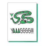Funny Yaassss Yas Snake | Congratulations Letterpress Card | kiss and punch - Kiss and Punch