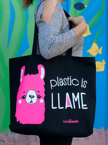 Plastic is Llame Llama Screenprinted Tote Bag | Donation | kiss and punch - Kiss and Punch