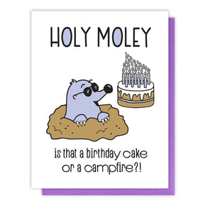 Funny Letterpress Birthday Card | Holy Moley Lots of Candles | kiss and punch