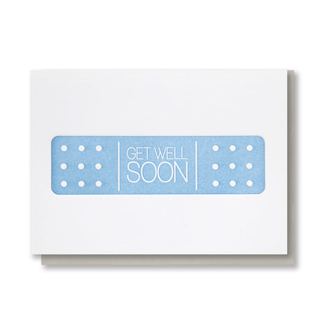 Get Well Soon | Bandage Letterpress Card | kiss and punch