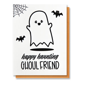 Funny Halloween Letterpress Card | Happy Haunting Ghoul Friend | kiss and punch