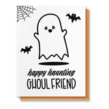 Funny Halloween Letterpress Card | Happy Haunting Ghoul Friend | kiss and punch - Kiss and Punch