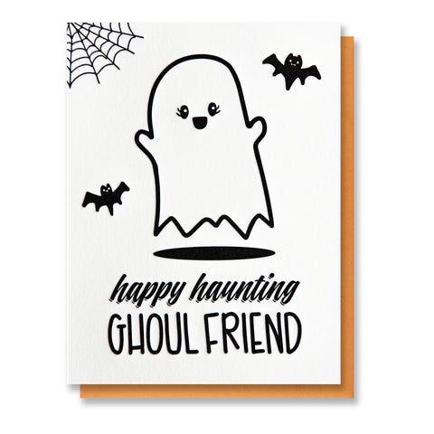 NEW! Funny Halloween Ghost | Happy Haunting Ghoul Friend | BFF Bestie Letterpress Card | kiss and punch