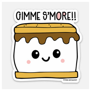 Punny 3 Inch Gimme S'more Vinyl Sticker