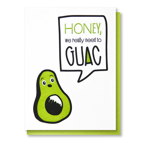 Funny Avocado Guac Love Letterpress Card