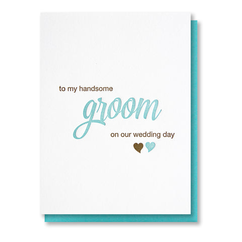 Handsome Groom Day of Wedding Letterpress Card - Kiss and Punch