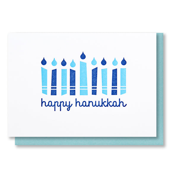 Mod Style Hanukkah Candles Letterpress Card - Kiss and Punch