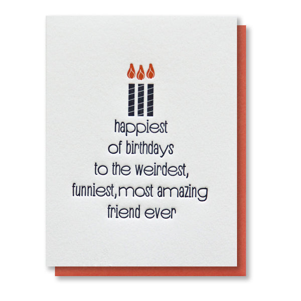 Funny Friend Happiest of Birthdays Letterpress Card | kiss and punch - Kiss and Punch