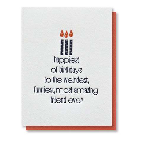 Funny Friend Birthday Letterpress Card