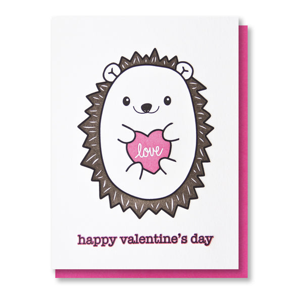 NEW! Cute Hedgehog | Love | Happy Valentine's Day Letterpress Card | kiss and punch