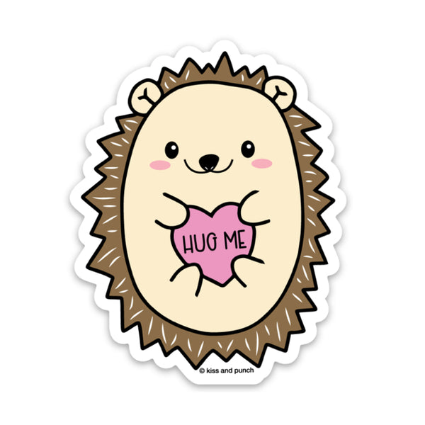 Cute hedgehog holding pink heart saying Hug Me