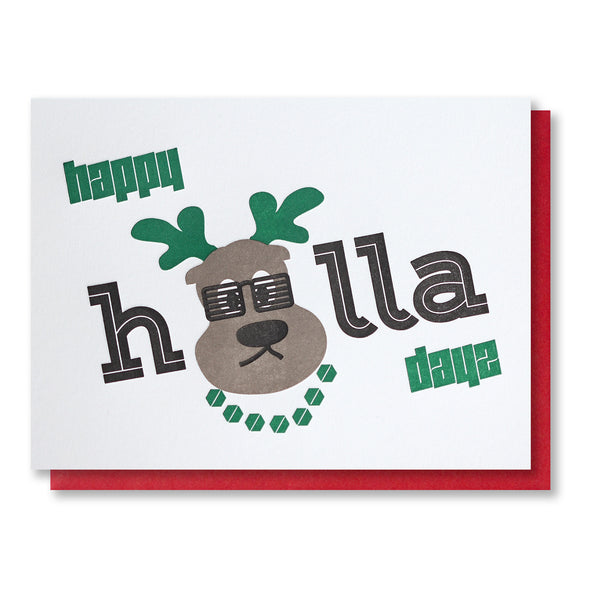Funny Reindeer Happy Holla Days Holiday | Christmas Letterpress Card | kiss and punch - Kiss and Punch